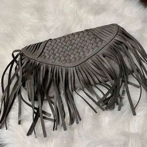 Handbags - Gray fringe handbag